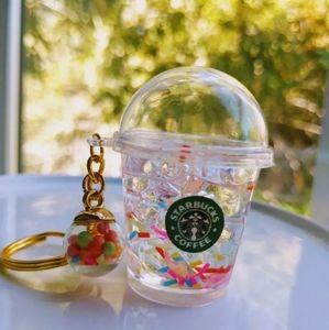 Starbucks Inspired Confetti Tumbler Keychain New